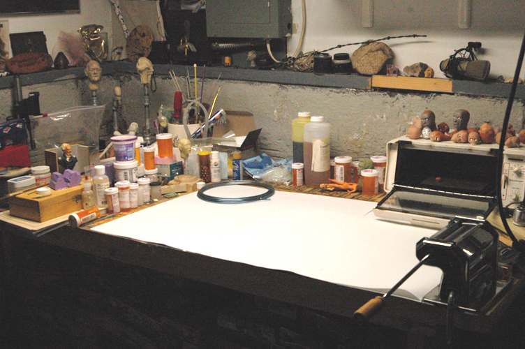Here Is Where I Do All My Sculpting Projects. Note The Pasta Maker In The  Lower Right Corner And The Toaster Oven For Baking Sculpy Polymer Clay.